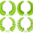Stock Vector: Green laurel wreaths