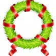 Round wreath with ribbon - Stock Vector