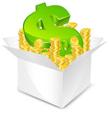 Box with money — Stock Vector