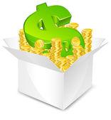 Box with money — Stock Vector