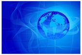 Mavi renkli çizgileri ve gezegen — Stok Vektör