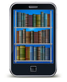 Mobile phone and books — Stockvector