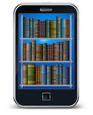 Teléfono móvil y libros — Vector de stock