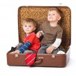 Boys in suitcase — Foto de stock #5546925