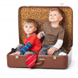 图库照片: Boys in suitcase