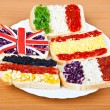Sandwiches with flags of five countries — Stock Photo