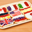 Sandwiches with flags of countries - Stock Photo