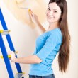 A woman is painting walls - Stock Photo