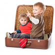 Boys in a suitcase — Stockfoto