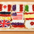 Sandwiches with flags of countries — Stock Photo