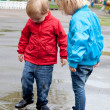 Boy with girl are walking on the street — Stock Photo