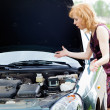 Stock Photo: A car is broken down