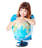 The red-haired girl with globe — ストック写真