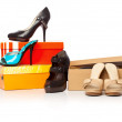 Fashion shoes on the boxes — Stock Photo #6136726