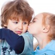 Stock Photo: Little boy and girl in love
