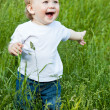 A little smiling boy in the field — Stock Photo #6136895