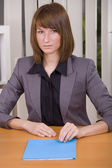 Woman with application file — Stockfoto