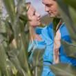Loving couple in corn field - Photo