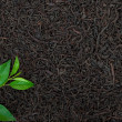 Black tea with leafs - Foto Stock