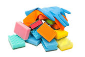 Rubber gloves and kitchen sponges — Stock Photo