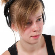 Portrait of a female DJ chick — Stock Photo
