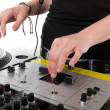 Hands of female disc jockey — Stock Photo