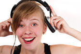 Portret dziewczynki w słuchawkach — Zdjęcie stockowe
