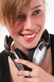 Portrait of a teenage girl in headphones — Stock Photo