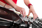Hands of female DJ playing — Stock Photo