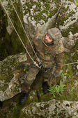 Soldier on the rope — Stock Photo
