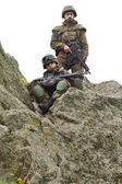 Soldiers on the cliff — Stock Photo