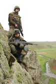 Soldiers on the mountain — Stock Photo