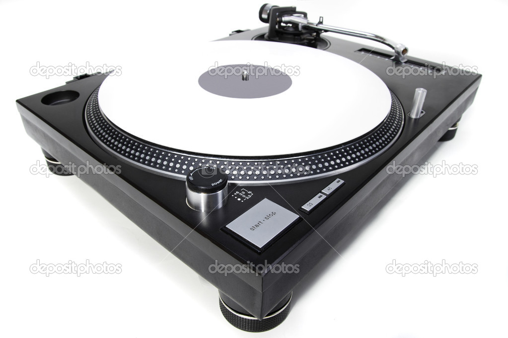 Professional DJ direct-drive turntable record player on white surface  Stock Photo #5931346