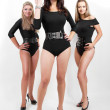 Group of three sexy ladies in black body suits on heels — Stock Photo #6438195