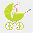 Stock Vector: Rabbit in baby carriage