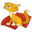 Cat on pillow — Imagen vectorial