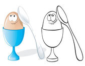 Egg in eggcup and spoon — Stock Vector