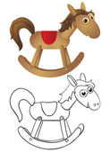 Wooden rocking horse — Stock Vector