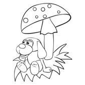 Toys dog under mushrooms — Stock Vector