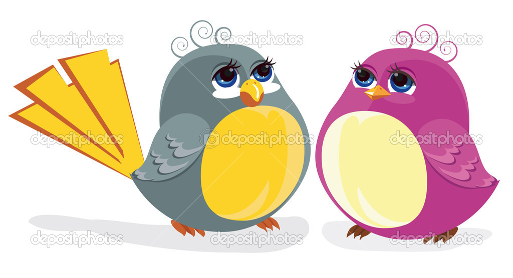 Two funny birds. Color illustration — Stock Vector #6644259