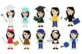Nice young girls of different jobs — Stock Vector