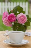 Morning tea in a garden — Stock Photo