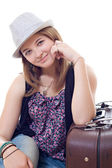 Attractive girl in hat — Stock Photo