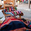 Colorful Fabric at market in Peru — Stock Photo