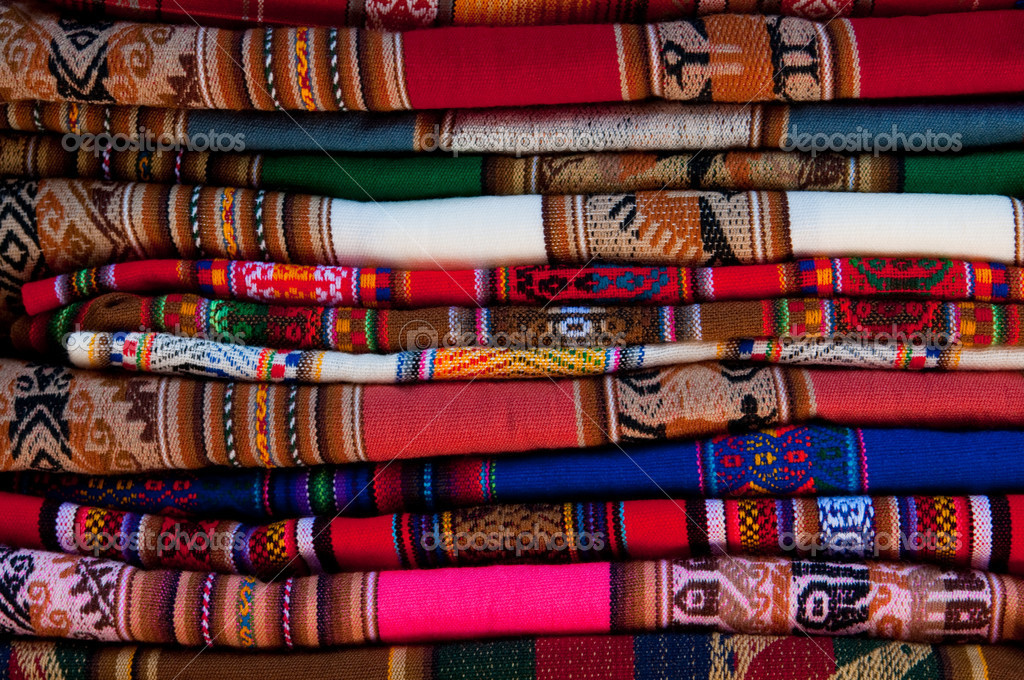 Colorful Fabric at Cusco market in Peru — Stock Photo #5656547