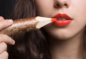 Woman make up. red lip — Stock Photo