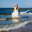 Royalty-Free Stock Photo: Bride running in waves