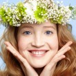 Happy girl with flower crown — Stock Photo