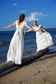 Two brides balancing — Stock Photo