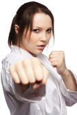 Karate girl — Stock Photo
